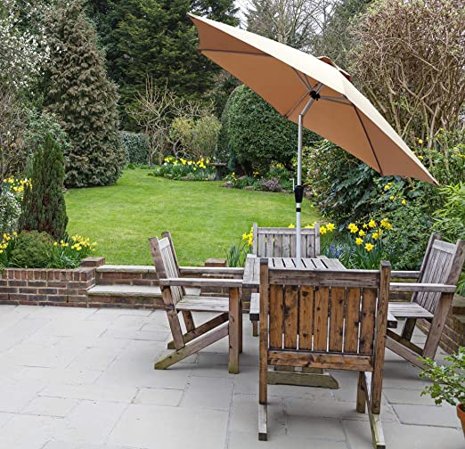 GlamHaus Parasol de jardín inclinable 2, 7 m para Exteriores, Jardines y Patios – Aluminio Robusto (Arena): Amazon.es: Jardín