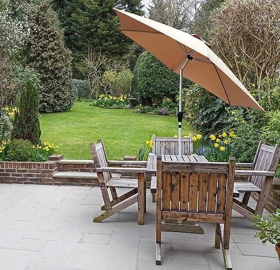 GlamHaus Parasol de jardín inclinable 2, 7 m para Exteriores ...