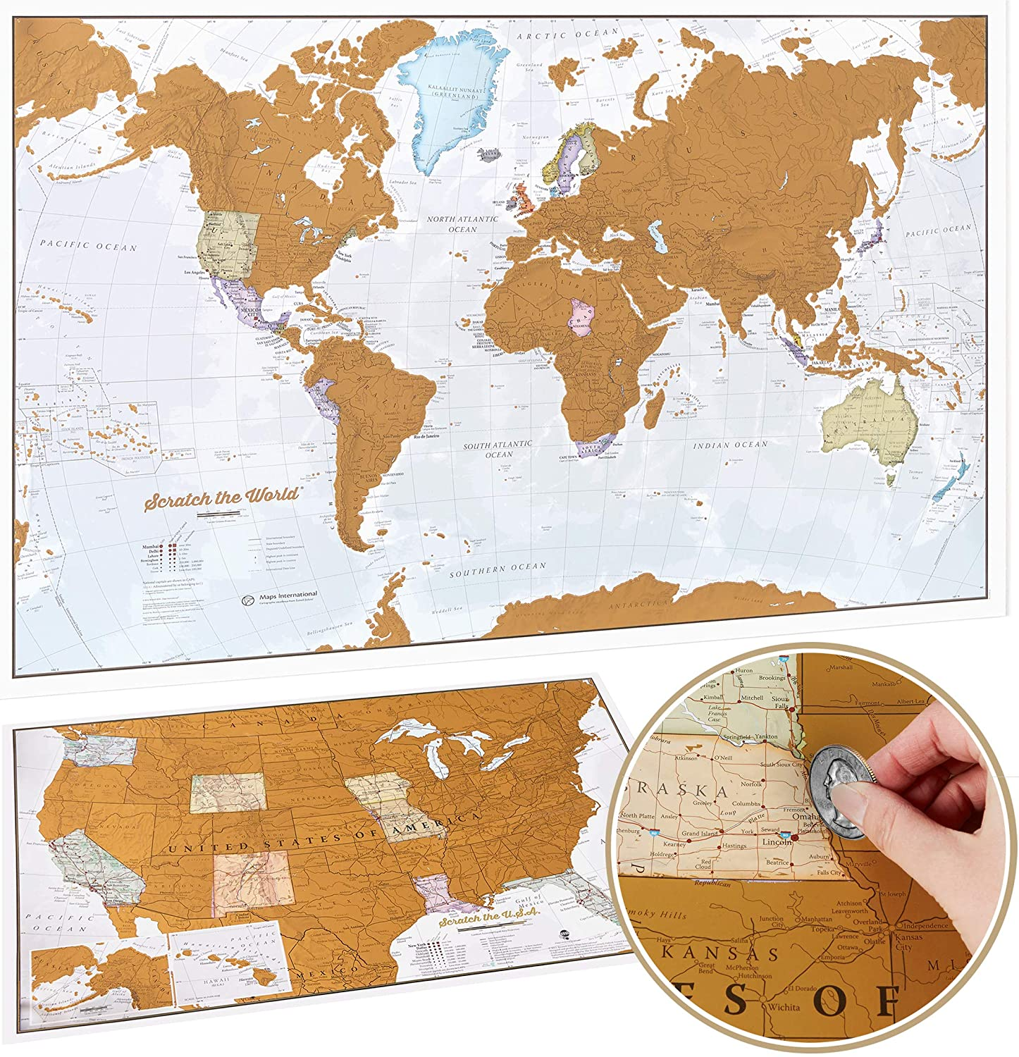 Image of a World Map with Map of the USA below it, and a hand holding a coin.