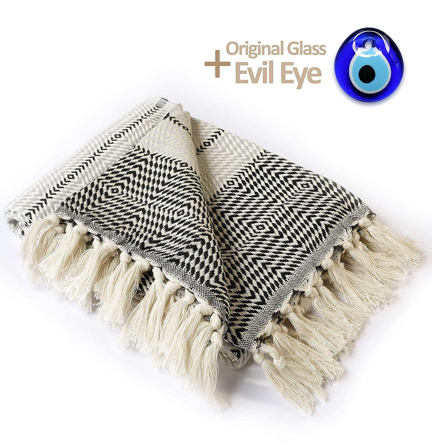 "Luxury Throw Blanket with Fringe 100% Cotton |40""x71""