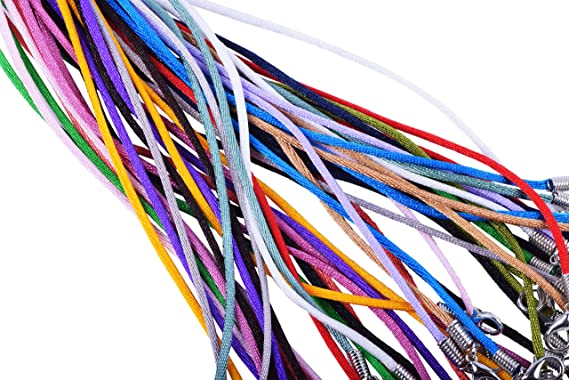 Cords 2.0mm Black Satin Silk Necklace Cord 18 Chain Lead/&Nickel Free 50pcs