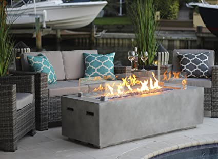"AKOYA Outdoor Essentials 60"" Rectangular Modern Concrete Fire Pit  Table w/Glass Guard Crystals - Amazon.com: AKOYA Outdoor Essentials 60"