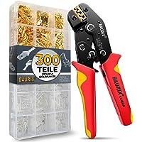 BAURIX® krimptang met 300 stuks platte kabelschoenen set I krimptang voor 0,50-2,50 mm² connectoren I kabelschoentang…