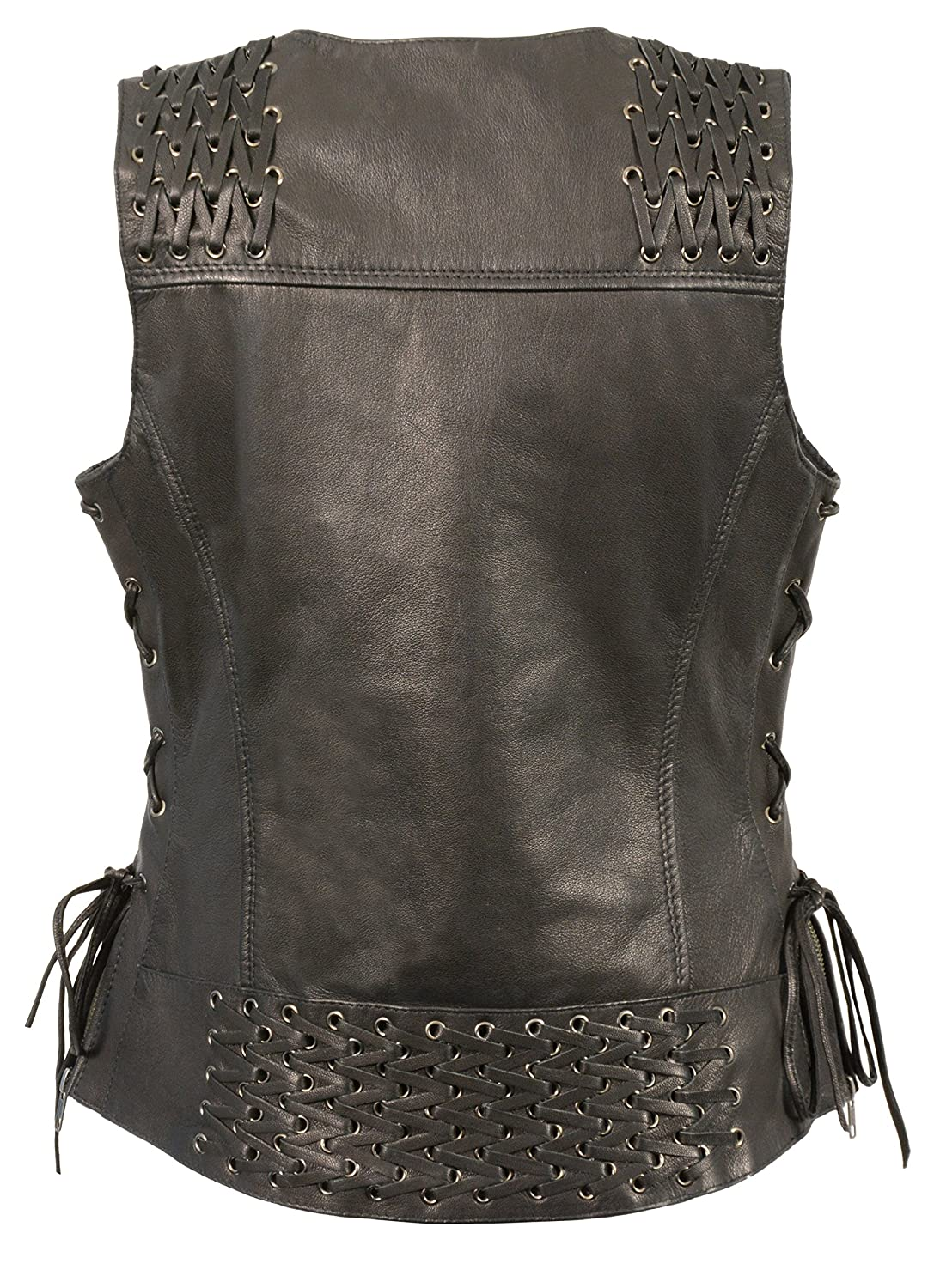 Milwaukee Leather Womens Snap Front Vest with Lacing on Shoulder//Back Black, X-Large