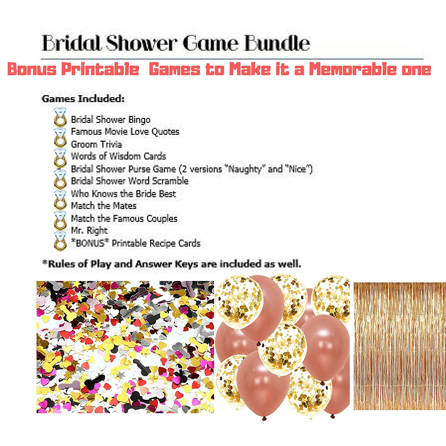 amazoncom 228 rose gold bridal shower decorations and gamesbachelorette bride to be banner curtains backdrop sash ring balloons straws