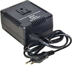 ELC 200 Watt Voltage Converter Transformer Heavy Duty Compact - Step Down - 220/240 to 110/120 Volt - Light Weight - Travel - for Hair Straightener, TVs, Laptops, Chargers [3-Years Warranty]