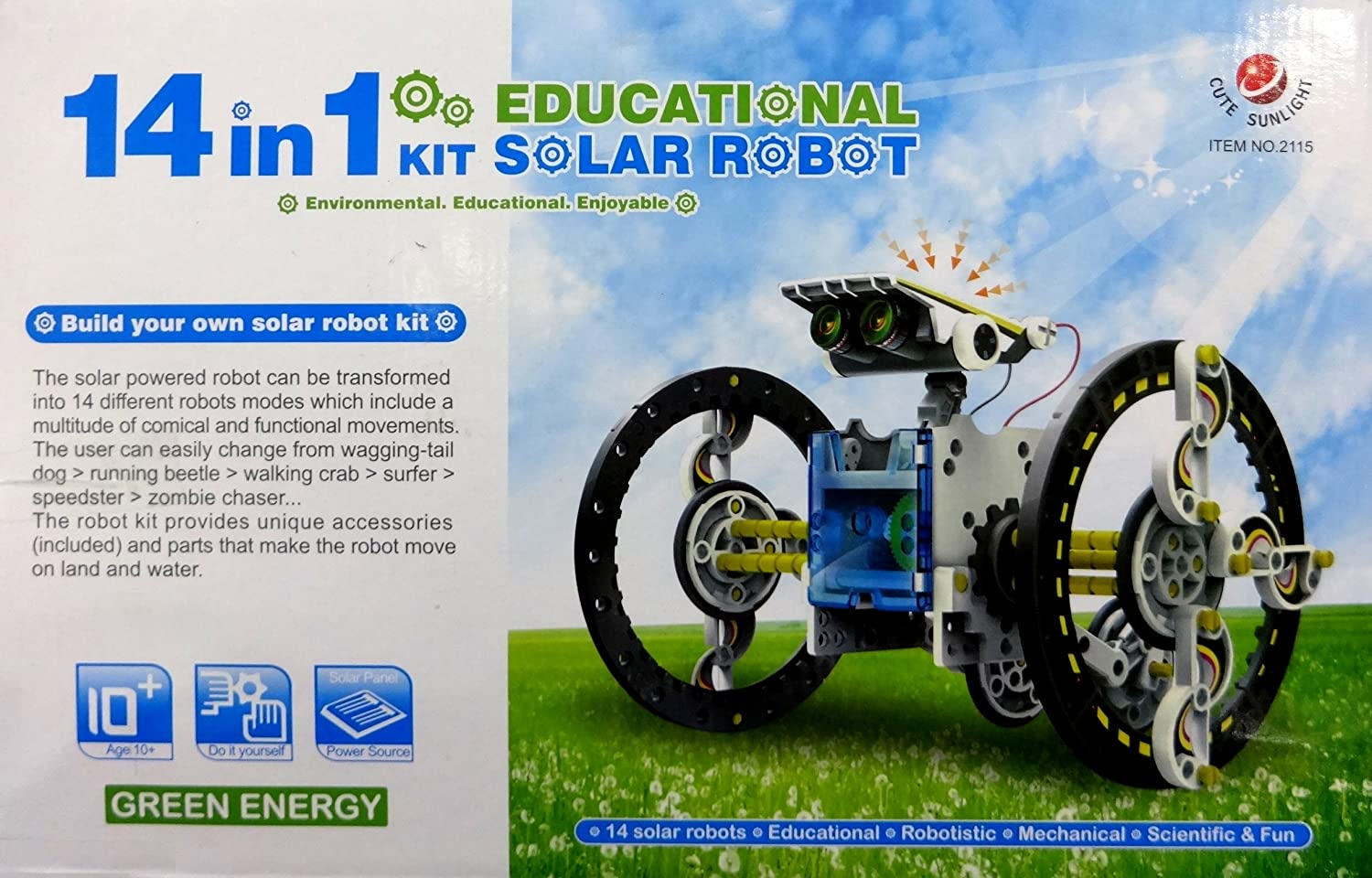 Cute sunlight 14 in 1 educational solar powered robot diy kit cute sunlight 14 in 1 educational solar powered robot diy kit amazon toys games solutioingenieria Image collections