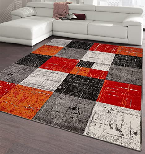 Ottomanson City Collection Modern Area Rug, 5 3 X 7 3 , Red-Orange Checkered