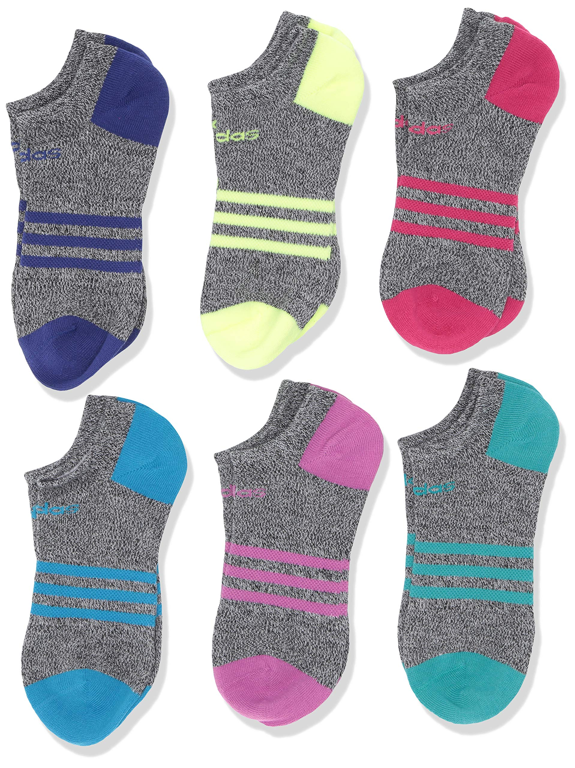 adidas Youth Kids-Girl's Superlite No Show Socks (6 Pair), Black - White Marl/Real Magenta/Active Blue/Hi - Res Y, Medium, (Shoe Size 13C-4Y) by adidas