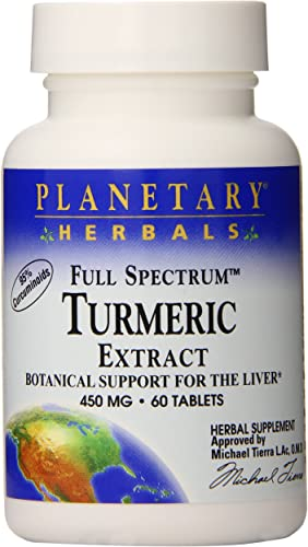 Planetary Herbals Full Spectrum Turmeric Extract Tablets, 450 mg, 60 Count