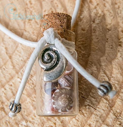 Collar de conchas de mar regalo de Pascua botella de cristal y acero inoxidable, única