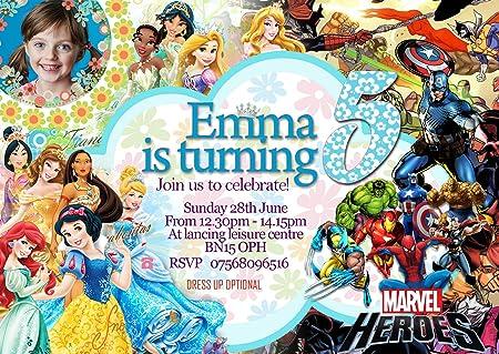 16 - Invitaciones Fiesta de cumpleaños princesas Disney + ...