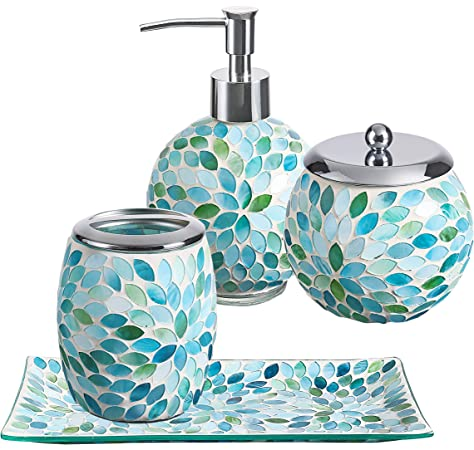 Floral Bathroom Accessory Set Colourful Soap Dish Dispenser Toilet Jardenia