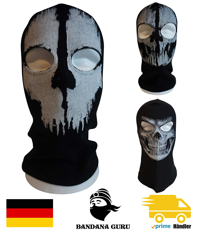 Bandana Guru Pasamontañas fantasma Calavera Cráneo Máscara Balaclava Ghosts Esquí Máscara motocicleta máscara viento Máscara Máscara de snowboard para Outdoor Sport Paintball, Skull Ghosts 3 BandanaGuru