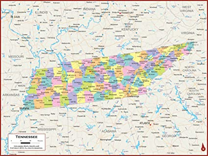 Tn State Map With Cities.Amazon Com Academia Maps Tennessee State Wall Map Fully