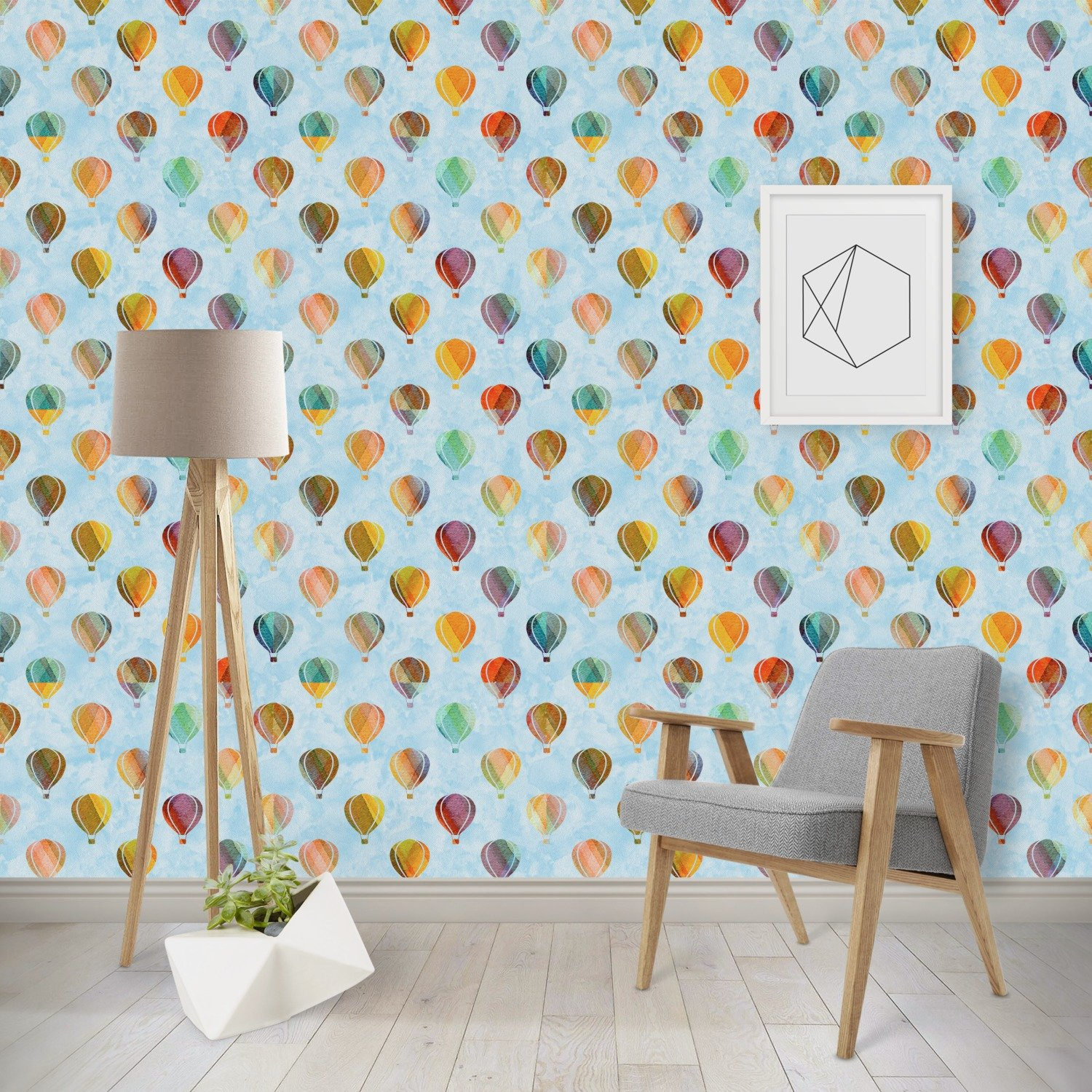 Watercolor Hot Air Balloons Wallpaper & Surface Covering (Peel & Stick - Repositionable)