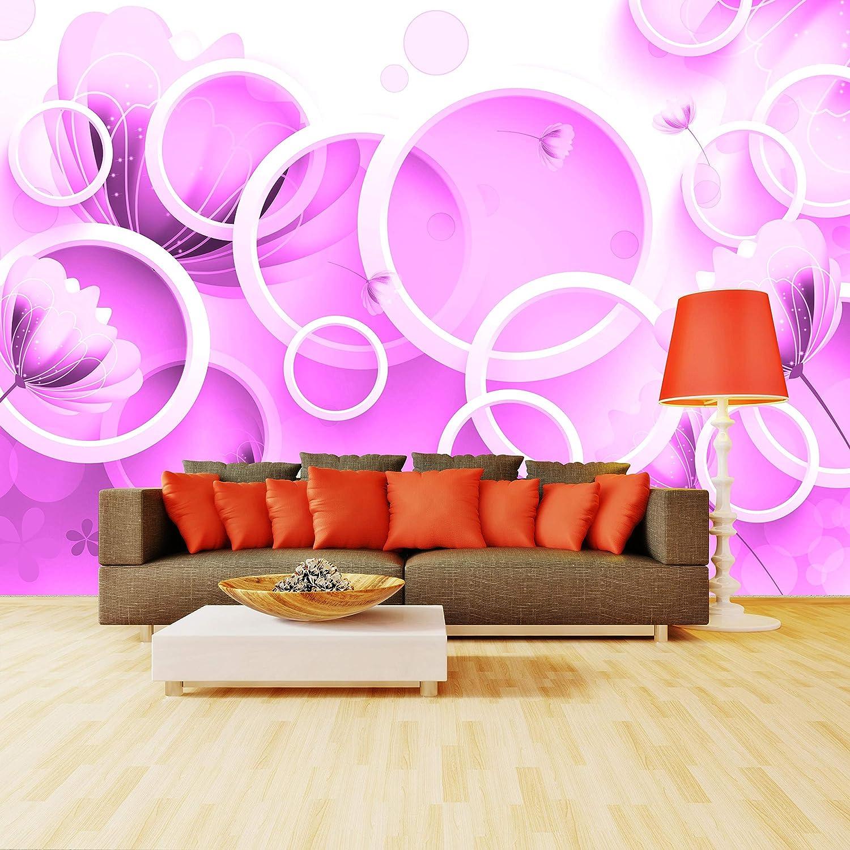 Wandmotiv24 Fototapete Rot Blaumen weiss weiss weiss 3D Kreise M4317 L 300 x 210 cm - 6 Teile Wandbild - Motivtapete B07NTS7DNC Wandtattoos & Wandbilder 125a39