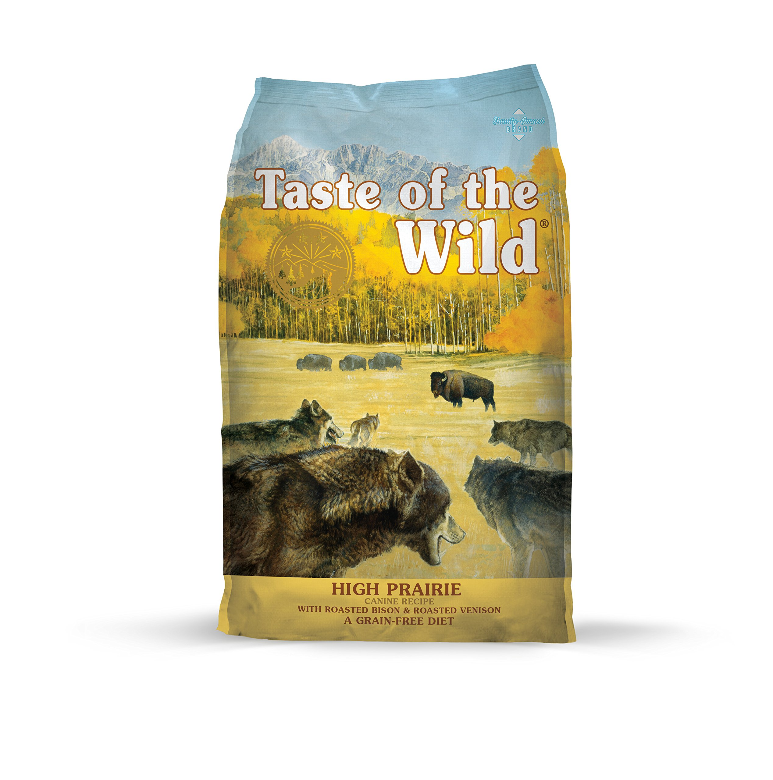 Taste of the Wild High Prairie Grain Free High Protein Real Meat Recipe Natural Dry Dog Food with Real Roasted Bison & Venison 5lb