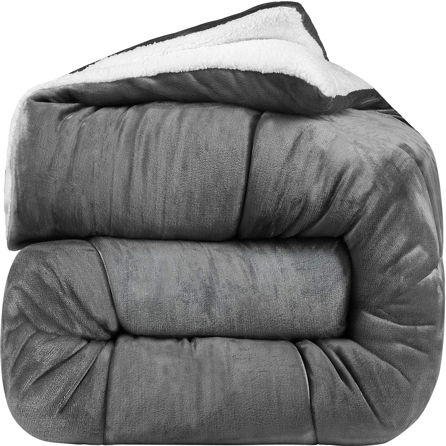 Utopia Bedding - All Season Alternative Fleece Comforter - Goose Down Sherpa Comforter King - Grey