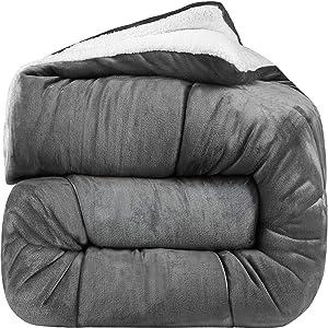 Utopia Bedding - All Season Alternative Fleece Comforter - Goose Down Sherpa Comforter King - Grey