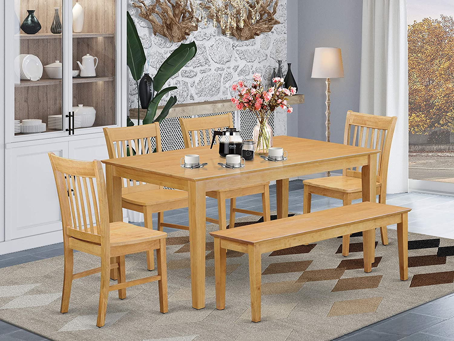 East West Furniture Rectangular Dining Table Set 9 Pc   Wooden Modern  Dining Chairs Seat   Oak Finish Dining Room Table and Bench