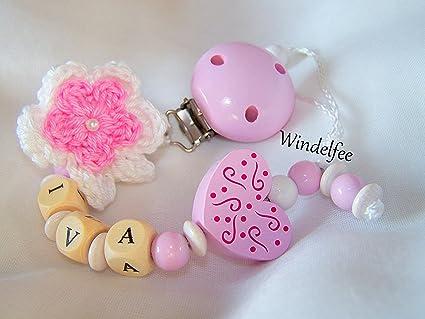 Chupete Cadena, nombre, diseño flor, corazón, color rosa, blanco ...