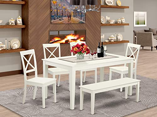 East West Furniture CABO6-LWH-W Rectangular Set 6 Piece-Wooden Chairs Seat-Linen White Finish Dining Room Table and Bench