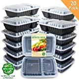 Amazon Price History for:Enther Meal Prep Containers [20 Pack] 2 Compartment with Lids, Food Storage Bento Box | BPA Free | Stackable | Reusable Lunch Boxes, Microwave/Dishwasher/Freezer Safe,Portion Control (32 oz)