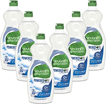 6-Pack Seventh Generation Free & Clear Dish Liquid Soap 25 Oz