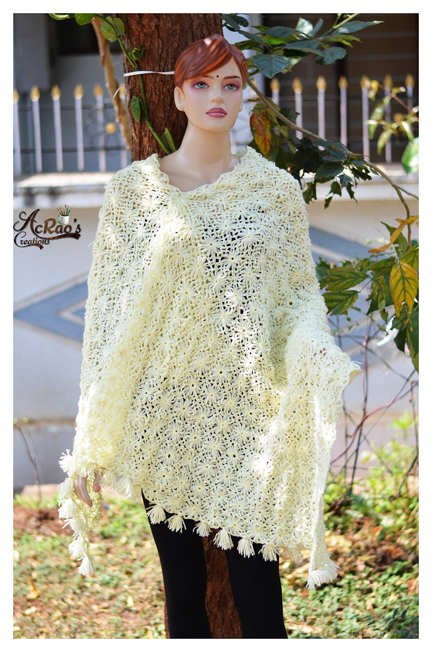 Crochet shawl knitted shawl yellow shawl wedding shawl bride shawl bridesmaid shawl knit shawl poncho wrap hand knit shawl cotton shawl by Acraoscreations
