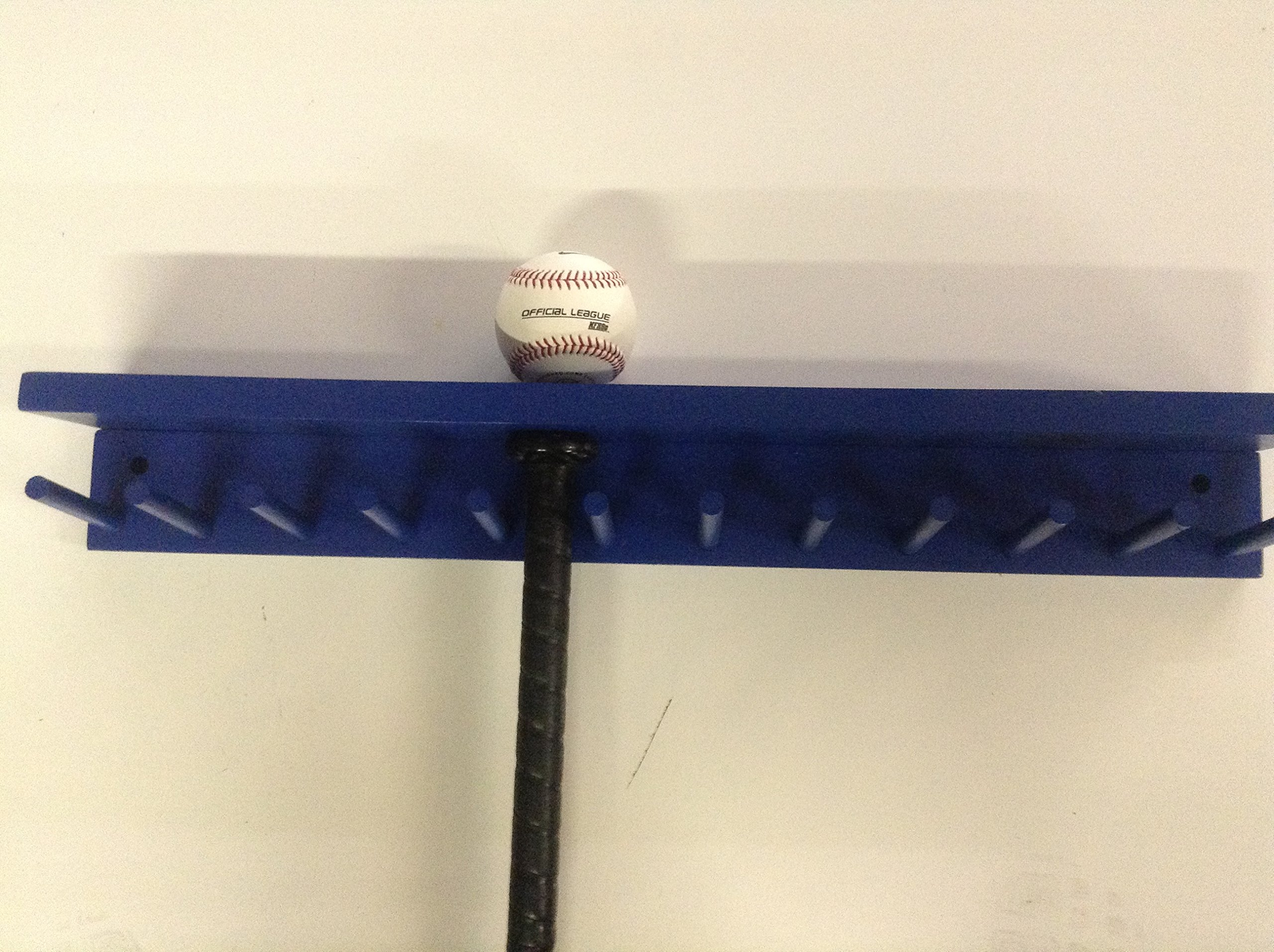 Baseball Bat Rack and Ball Holder Display Meant to Hold 11 Full Size Bat and 6 Baseballs Blue by MWC