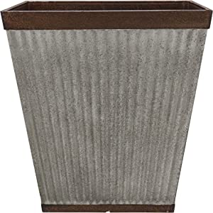 """Southern Patio 16"""" Rustic Resin Faux Galvanized Square Planter"""