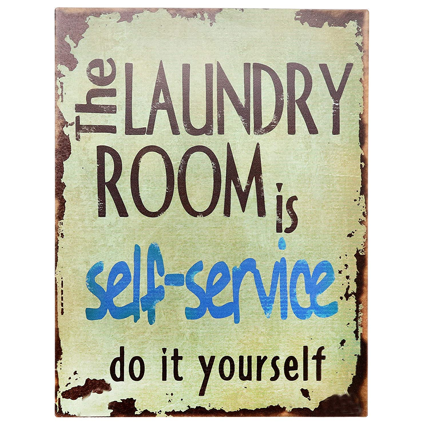 "Barnyard Designs The Laundry Room is Self Service Retro Vintage Tin Bar Sign Country Home Decor 10"" x 13"""