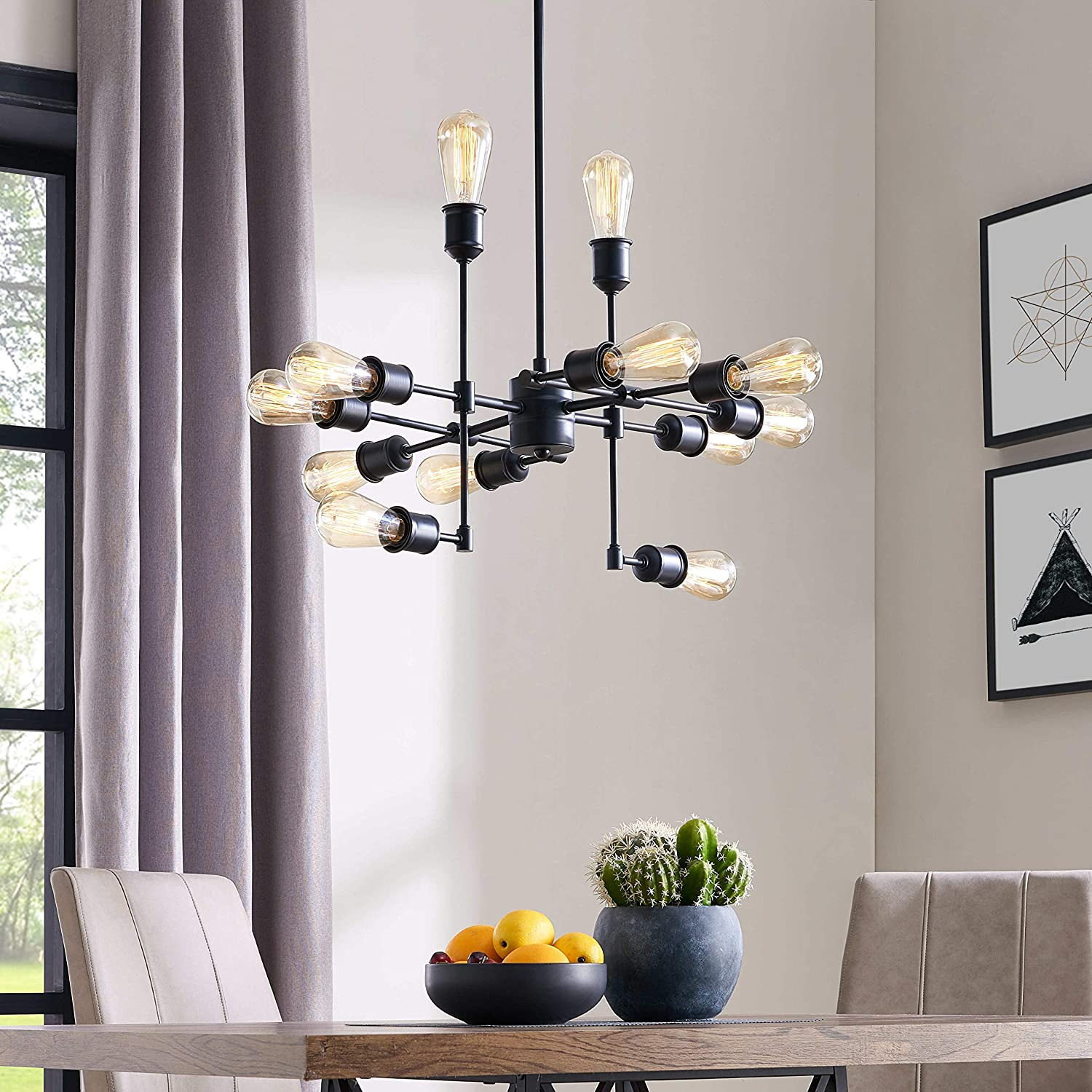 Belleze mid century 12 light chandelier modern pendant lighting