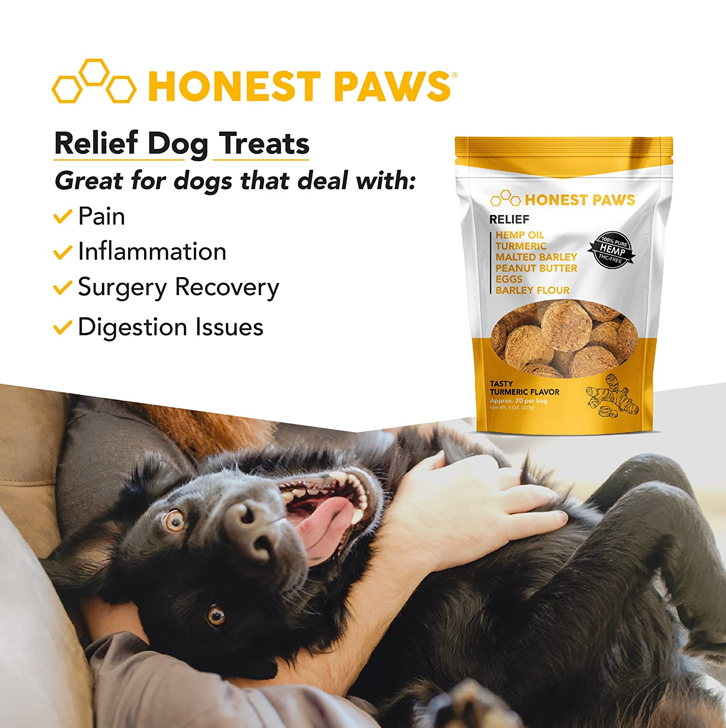 Honest Paws | ALL NEW Relief Formula | Premium Hemp Dog Treats - Hip,  Joint, and Pain Relief Supplement for Dogs - Made with 100% All Natural  Pure