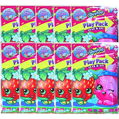 Shopkins Play Pack Grab & Go Children's Party Favor Bundle Edition Pack of 10: Toys & Games