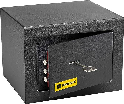 HomeSafe HV15K Caja Fuerte con Cerradura de Calidad 15x20x17cm (HxWxD), Negro Satén de Carbón: Amazon.es: Bricolaje y herramientas