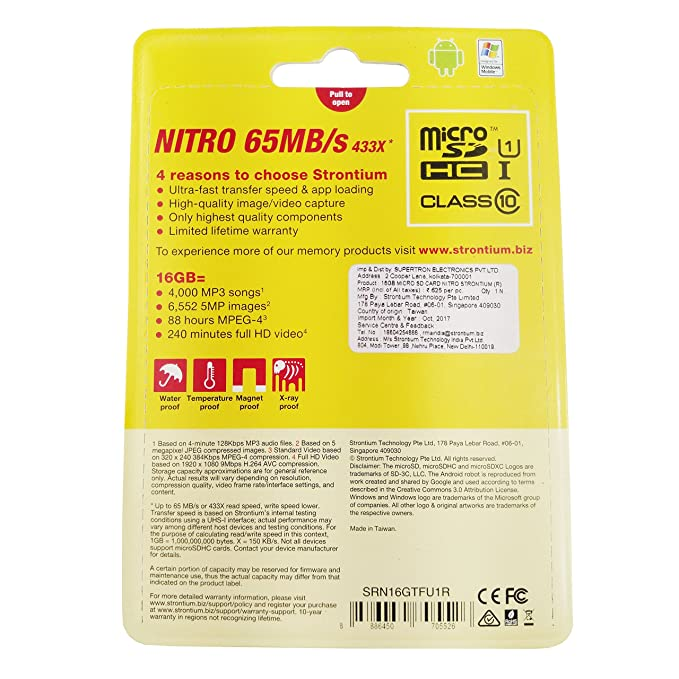 Strontium Nitro 16GB Class 10 MicroSDHC Memory Card Free OTG Card
