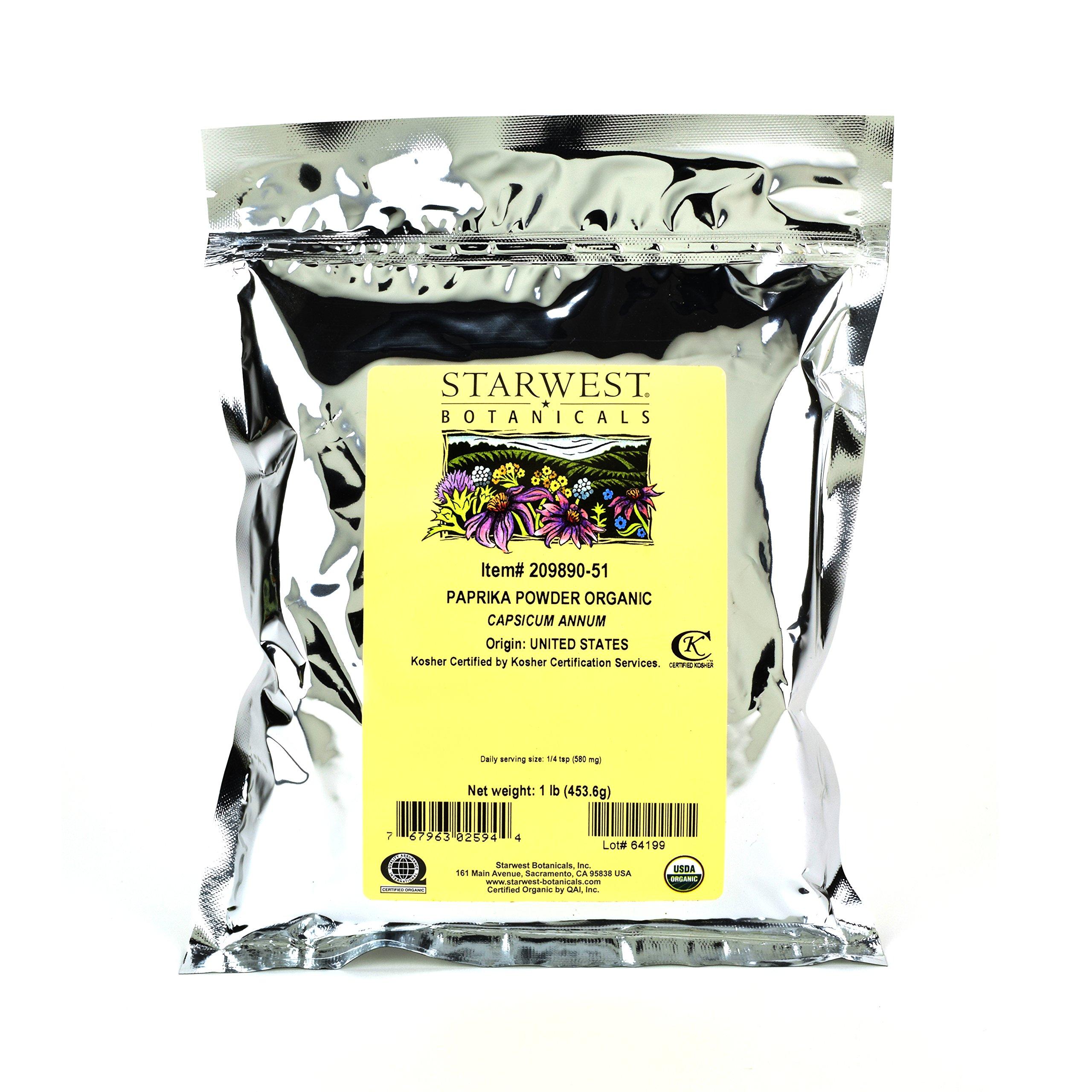 Starwest Botanicals Organic American Paprika Powder, 1 Pound Bulk Spice Bag