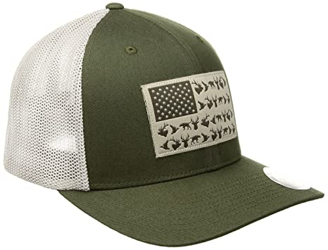Columbia Unisex PHG Mesh Ballcap Surplus Green Fossil Mesh Phg Flag Hat 6b599526d4d