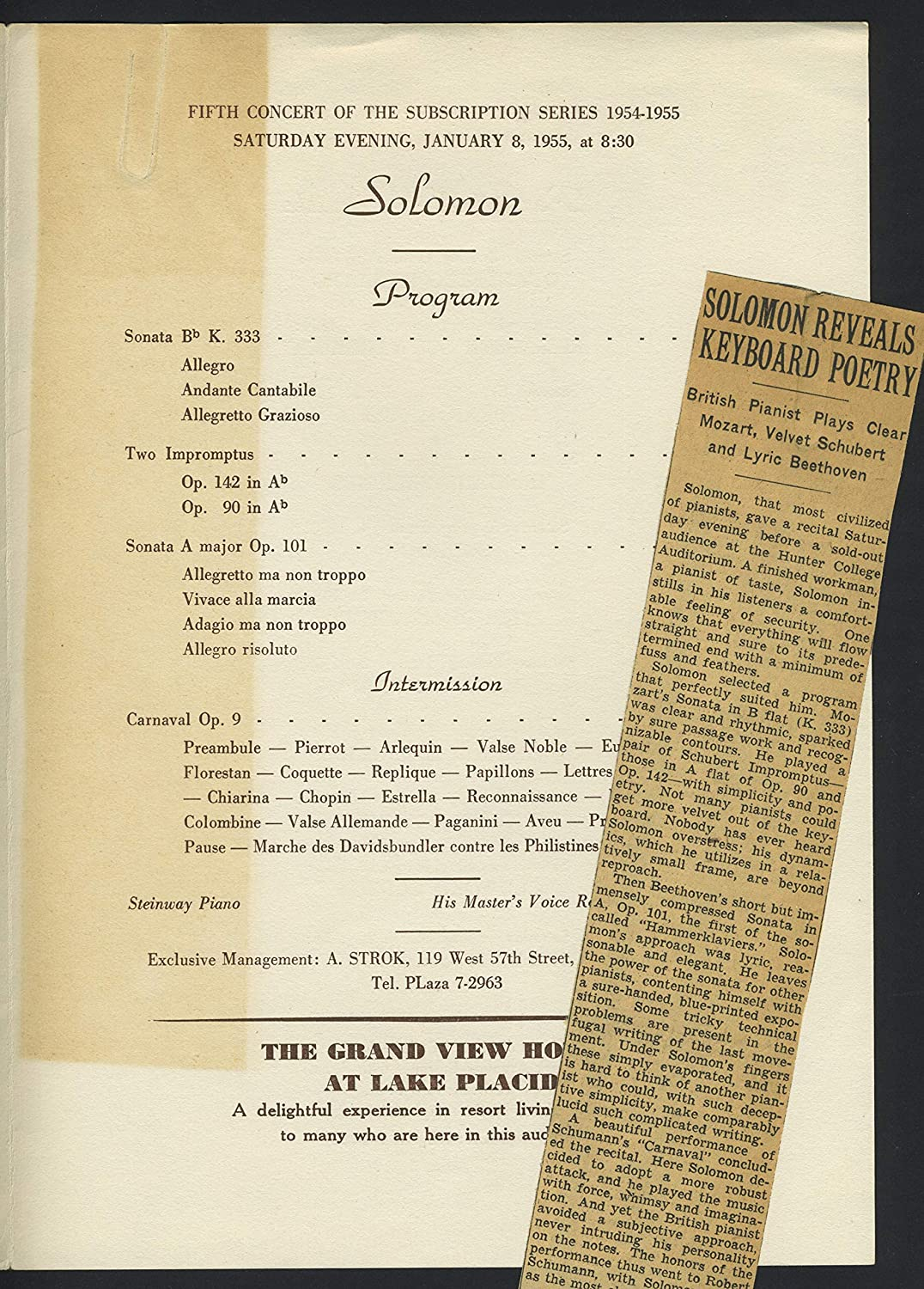 Solomon. (1902?1988): Signed Flyer with Concert Program at ...