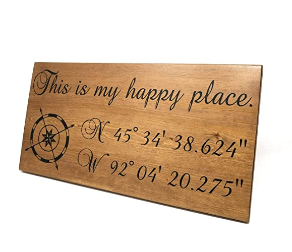 Gps Coordinates Wood Sign Personalized This Is My Happy Place Latitude Longitude Sign Address Sign 5th Anniversary