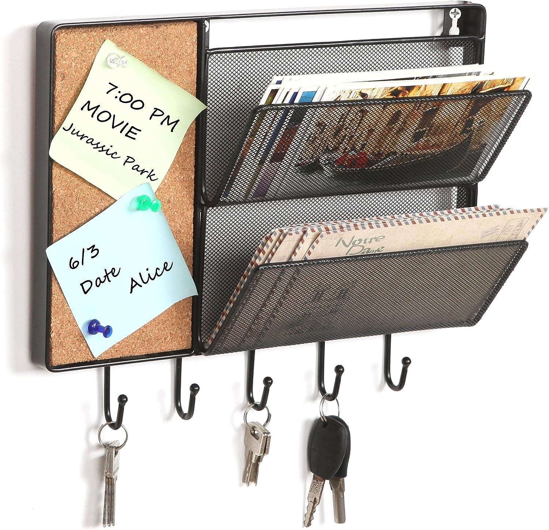 Black Mesh Metal Wall Mounted Storage Rack/Hanging Mail Sorter w/Cork Board & 5 Key Hooks - MyGift