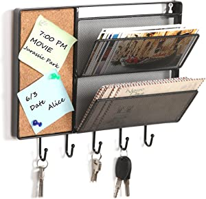 Black Mesh Metal Wall Mounted Storage Rack/Hanging Mail Sorter w/Cork Board & 5 Key Hooks - MyGift