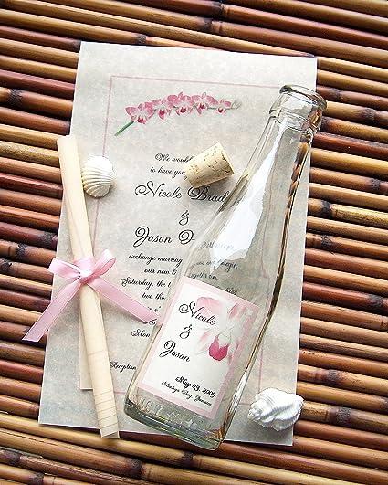 Amazon Com Message In A Bottle Signature Glass Wedding Invitation Sample Tropics Kitchen Dining
