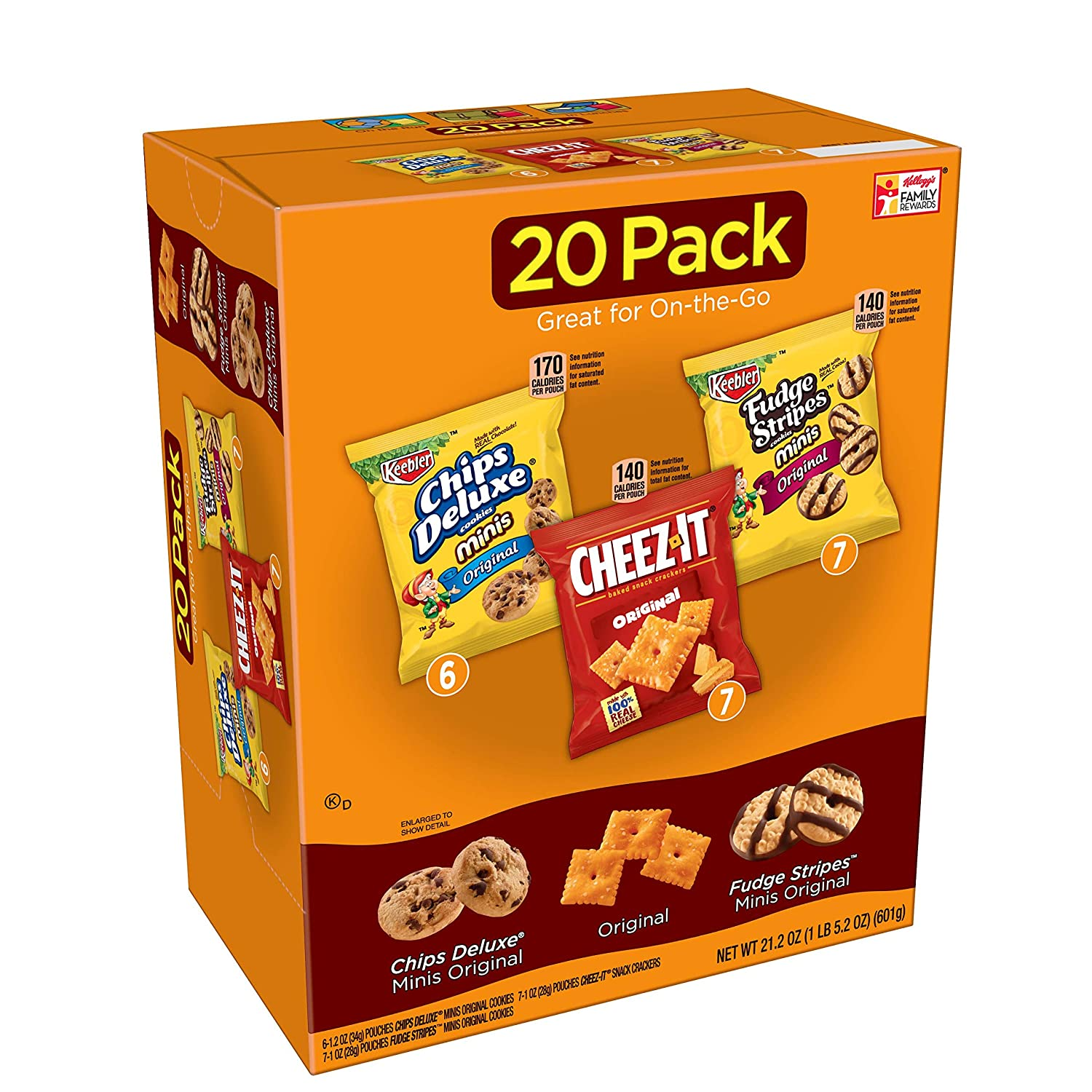 Keebler,Cookies and Crackers, Variety Pack,21.2 oz (20 Count), Packaging may vary