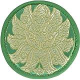 Seide Brokat Runde Pad-Lotus Design Grün Singen Schüssel Kissen