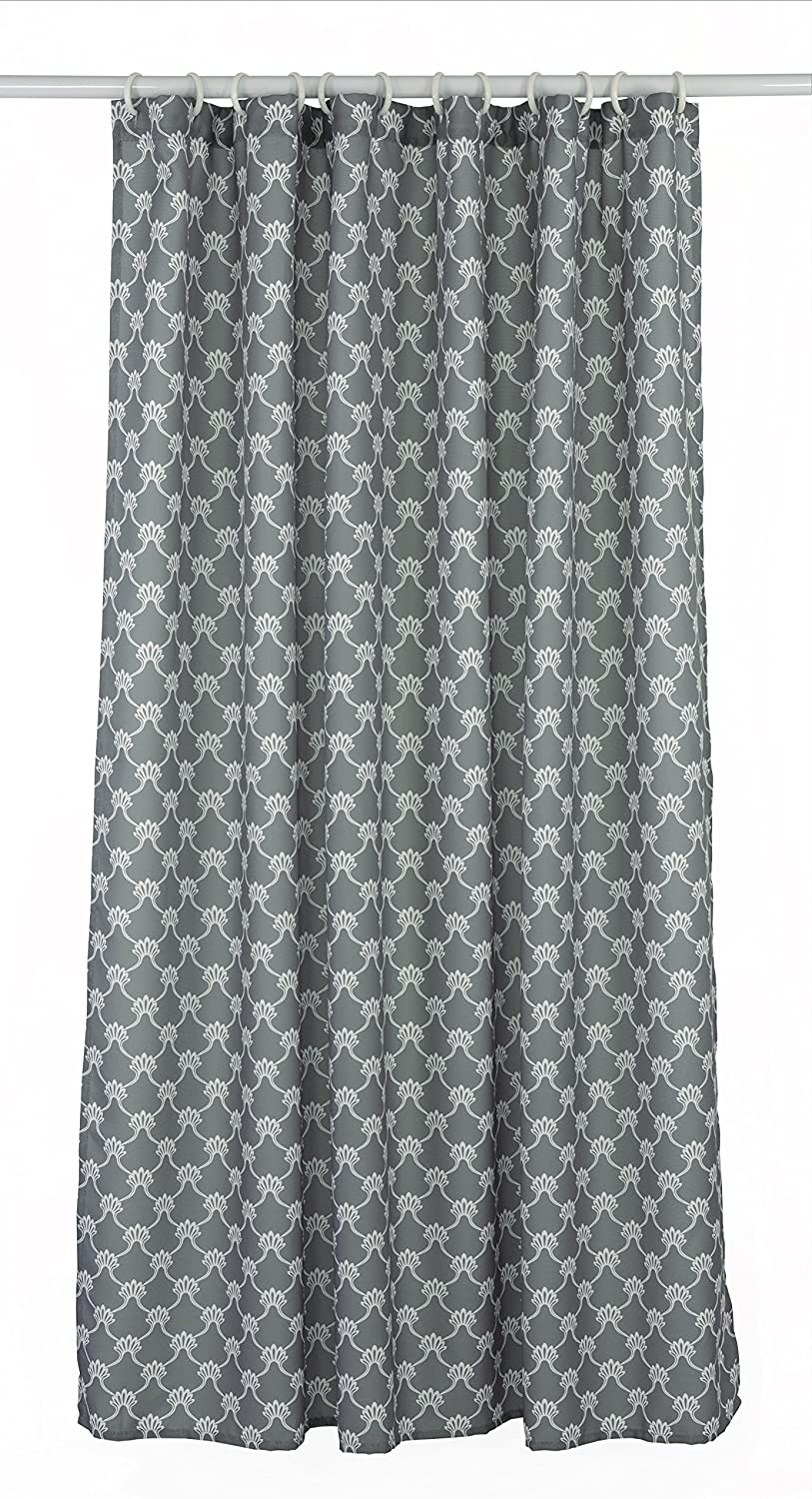 LJ Home Fashions 286 Manhattan Geometric Trellis Designed Shower Curtain Liner and Ring Set (14 Pieces) Charcoal Grey/White