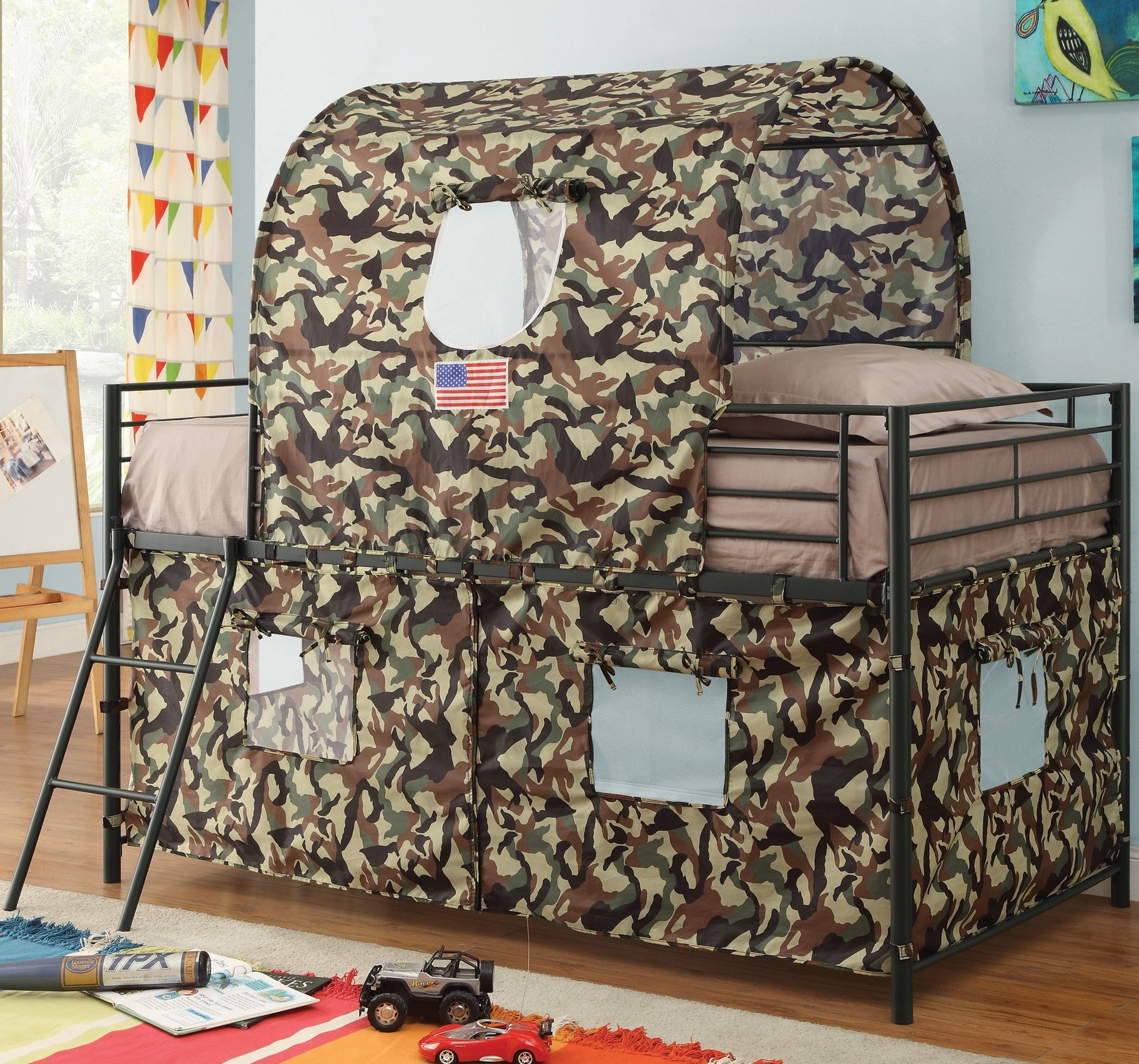 G.I. Twin Loft Bed for Boys - Durable Metal Frame in Glossy Black Finish with Guard Rails and Ladder - Army Camouflage Tent Mesh Covering with Window Flaps for Fun and Games - Extra Space Below Bed