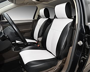 120906S Black/White 2 Front Car Seat Cover Cushions Leather Like Vinyl,  Compatible